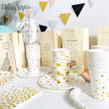 Disposable Tableware Paper Plates Cups Straws Gold Stripe Series Birthday Party Decorations Kids Adult Wedding Party Supplies celebrate party gold foil disposable tableware set paper plates cups napkins straws adult birthday party decor wedding party sup