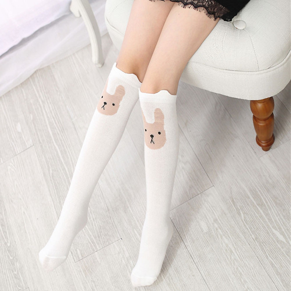 Children Girls Cute Stocking Animal Rabbit Pattern Print Knee High Cute Japan Harajuku Street Female Stocking