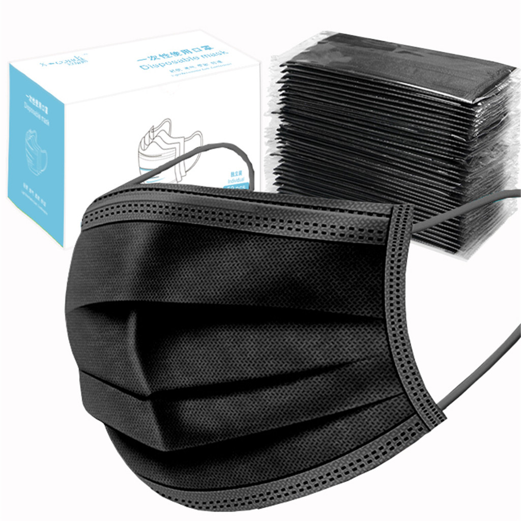 50pcs Protection Unisex Masque Disposable Non-woven Masks Three-layer Filter Anti-dust Mouth Nose Mouth Face Masks In Stock