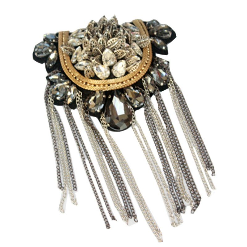 Unisex Exaggerated Tassels Rhinestone Sequins Chain Epaulet Shoulder Badge Pin X4YB