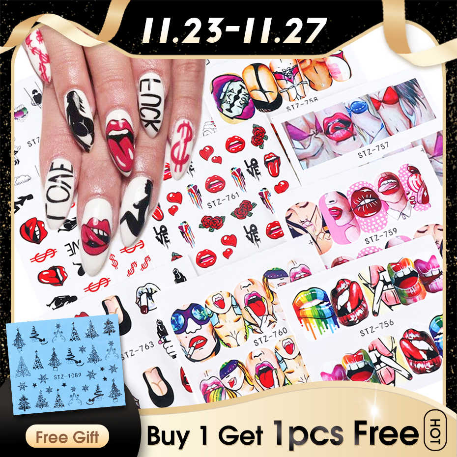 9Pcs Sexy Meisje Lippen Slider Water Decals Nail Sticker Water Transfer Tattoo Wraps Lijm Tip Manicure Decoratie JISTZ756-765