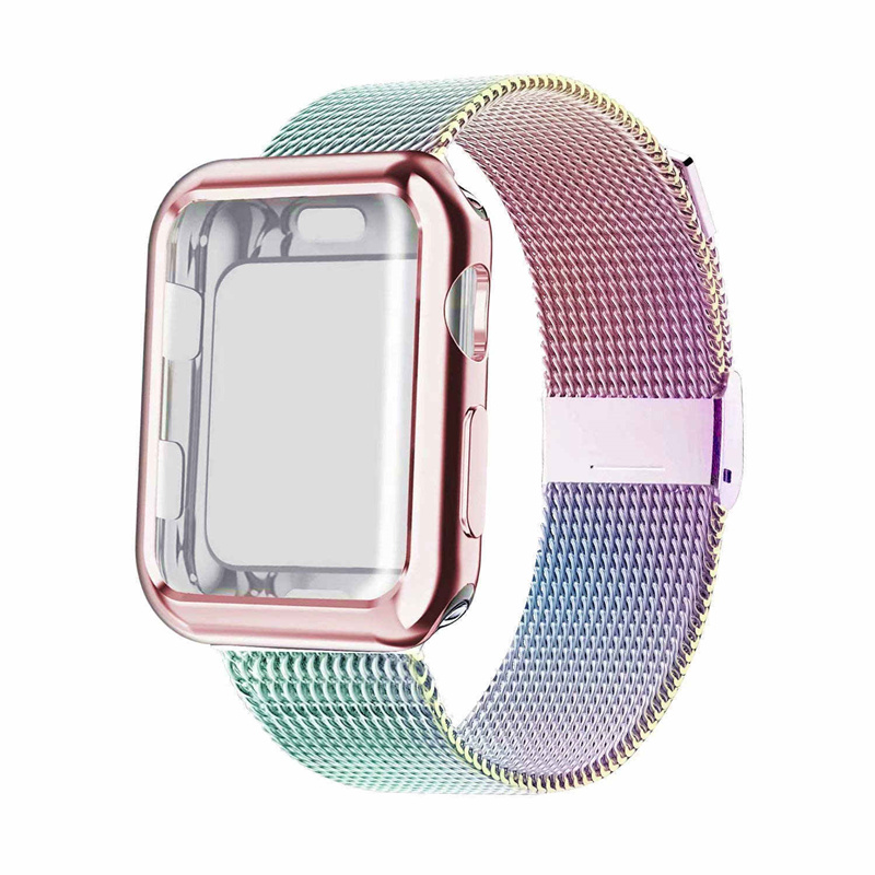Case+strap For Apple Watch Band 44 Mm 40mm IWatch Band 42mm 38mm Stainless Steel Milanese Loop Bracelet Apple Watch 5 4 3 2 1 40