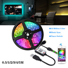 5V Usb Bluetooth Led Strip 5050 30Leds/M Rgb Led Streep Muziek Remote Wifi App Controle Tv backlight Flexibele Led Licht Waterdicht