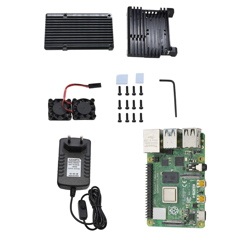 for Raspberry Pi 4 Model B 4G RAM DIY Kit with Aluminum CNC Alloy Protective Case Cooling Dual Fan 5V 3A Power Adapter image