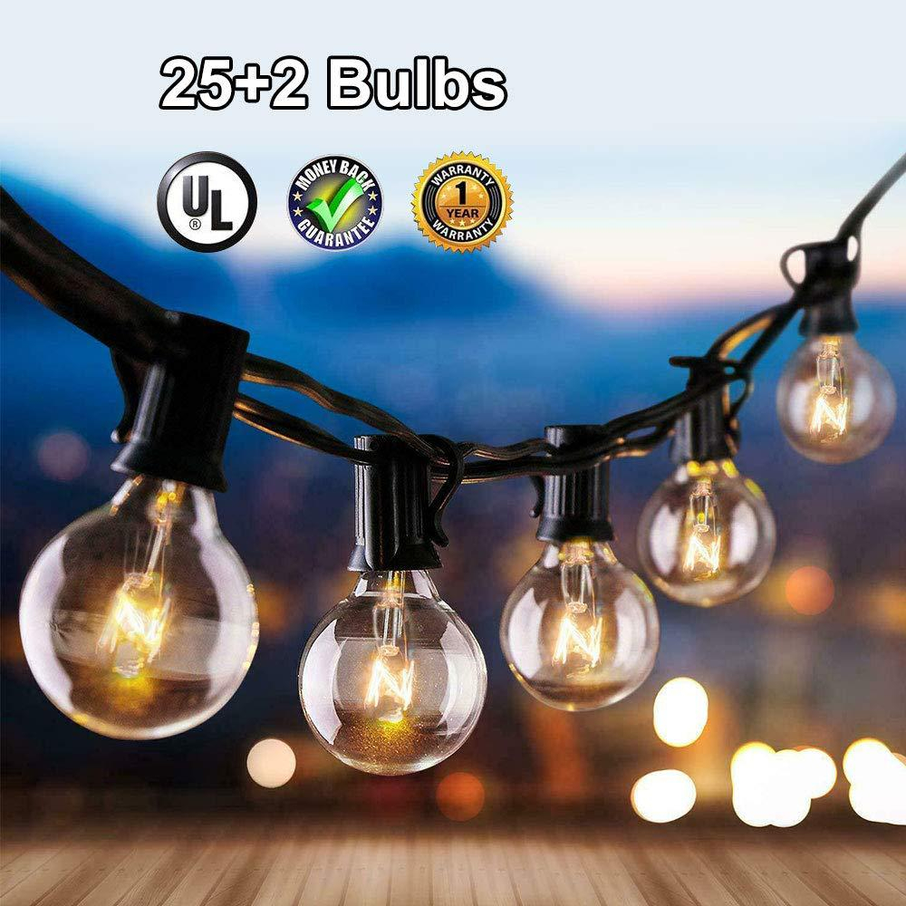 DCOO Outdoor Patio String Light 25 Clear Globe G40 Bulbs UL Certified For Patio Backyard Wedding Gathering Parties Markets Decor