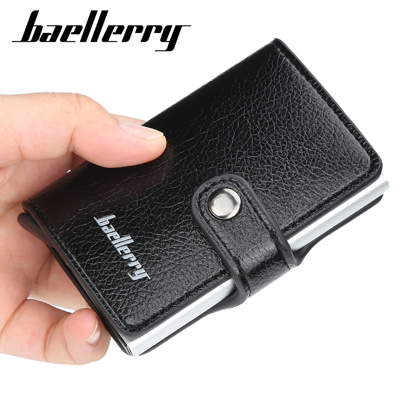 Baellerry Antitheft Men Wallets Credit Card Wallets Rfid Wallet PU Leather Male Purse Security Information Aluminum Purse