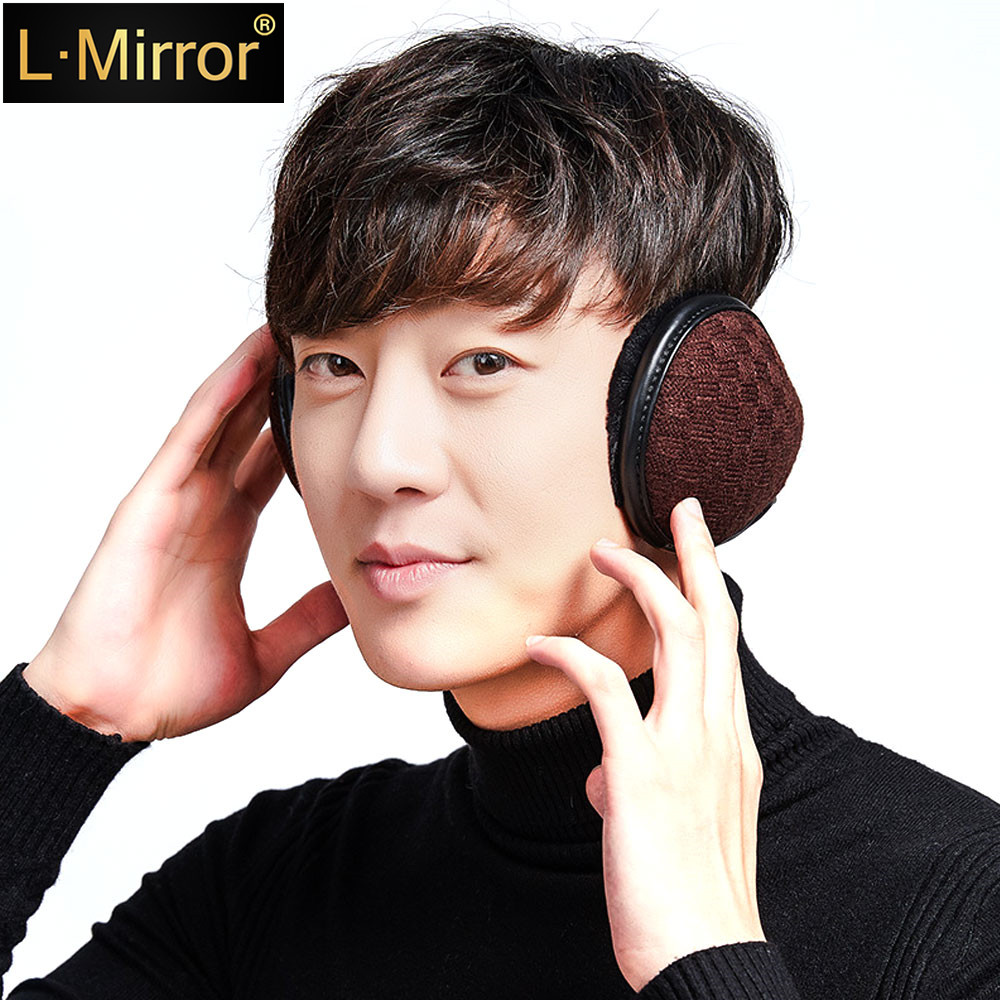 L.Mirror 1Pcs Men Teen Boys Warm Knit Winter Earmuffs Neck Protection Adjustable Wrap