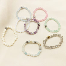 Momiji anéis de pedra natural para as mulheres na festa moda ajustável presentes da festa de aniversário charme amostra cristal anel conjunto