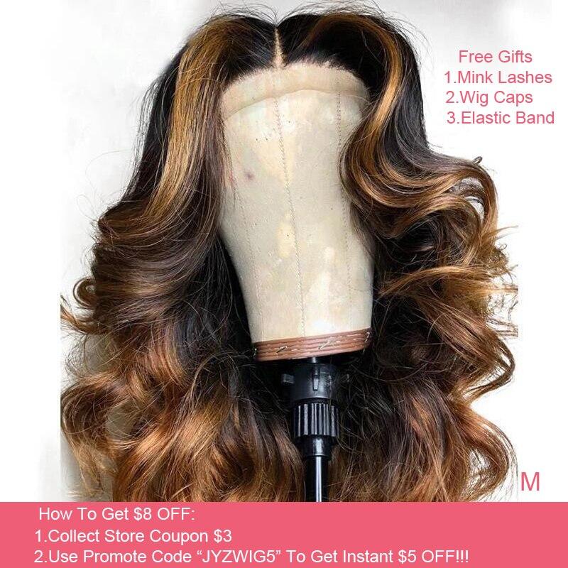 JYZ Ombre Blonde 13x4 dentelle avant perruques de cheveux humains 130% 150% densité dentelle avant perruques brésilien vague de corps dentelle avant perruque Remy cheveux