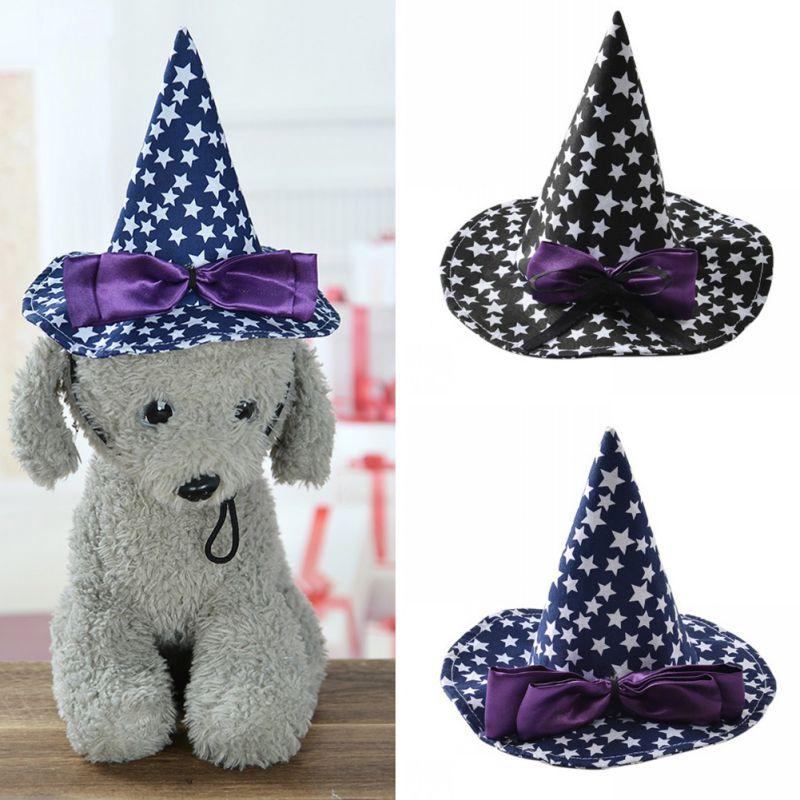 Dog Halloween Witch Hat Cute Cat Stars Print Cap with Bowknot for Party  Pet Accessories CM