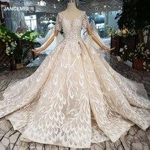 Áo CướI Tay Ngang Ren Lá Hình TÁo Cổ Tròn Con Công Phong Cách Công Chúa Cô Dâu Váy Đầm Cho Bé Gái Vestidos De Novia 2020 HTL234