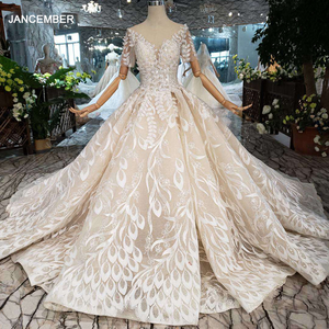 Image 1 - Áo CướI Tay Ngang Ren Lá Hình TÁo Cổ Tròn Con Công Phong Cách Công Chúa Cô Dâu Váy Đầm Cho Bé Gái Vestidos De Novia 2020 HTL234