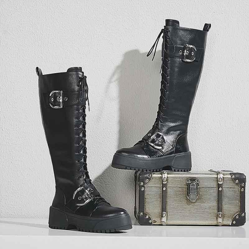 Coolcept Frauen Wohnungen Stiefel Aus Echtem Leder Mode Winter Schuhe Frauen Metall Schnalle Zipper Gothic Kniehohe WomanBoots Größe 34- 42