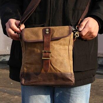SCIONE Men Oil Wax Canvas Leather Crossbody Bag Men Military Army Vintage Messenger Bags Shoulder Bag Casual Travel Bags 6