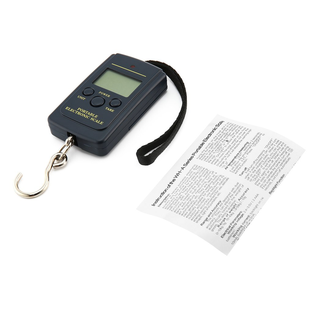 Портативные 40 кг карманные цифровые весы электронные Висячие багажные весы многоразовый баланс веса Steelyard черный
