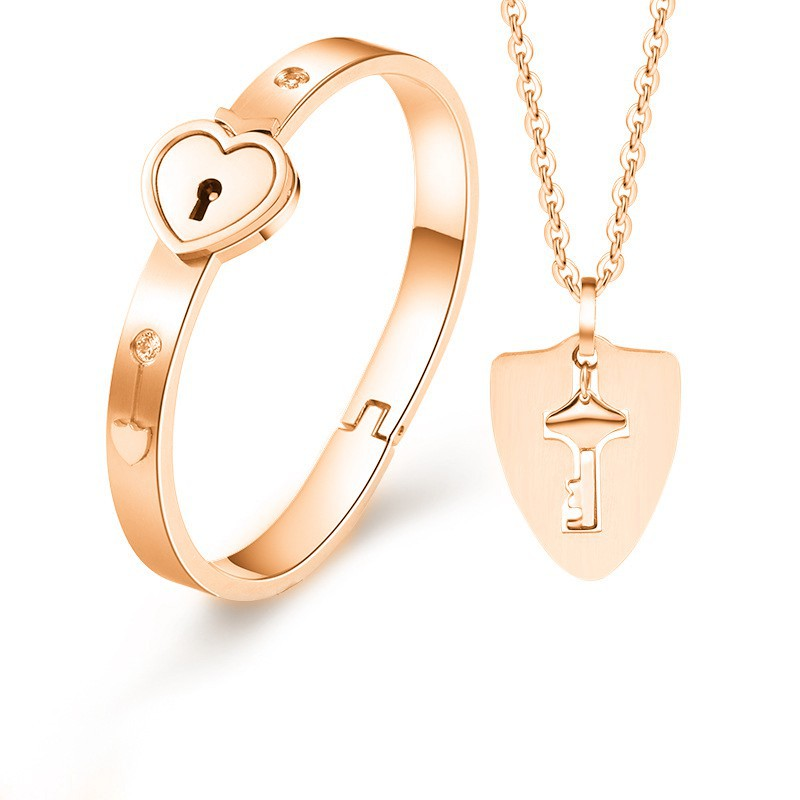 H7157e7a575464435a42bb5b346fa03c1t - Fashion Jewelry Sets For Lovers Stainless Steel Love Heart Lock Bracelets Bangles Key Pendant Necklace Couples Set