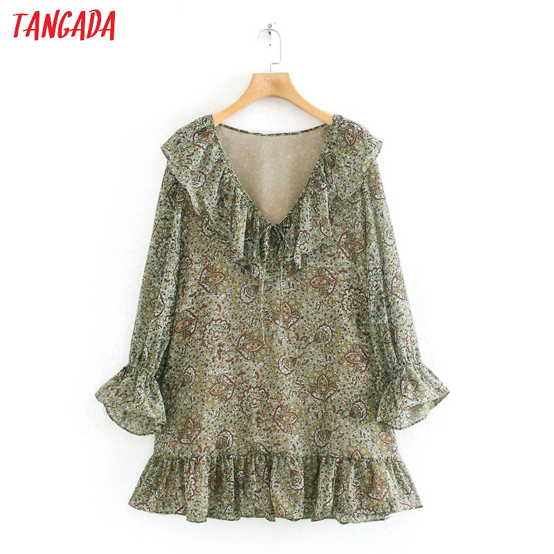 Tangada Fashion Women Floral Print Mini Dress Ruffles V Neck Long Sleeve Ladies Vintage Chiffon Dress Vestidos 2W02