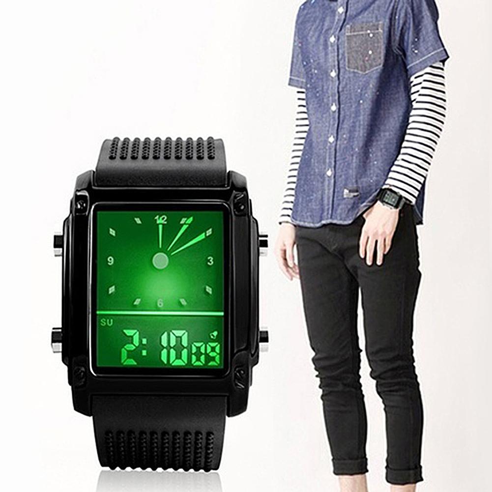 Fashion Unisex Waterproof Dual LCD Chronograph Quartz Sport Digital Wrist Watch