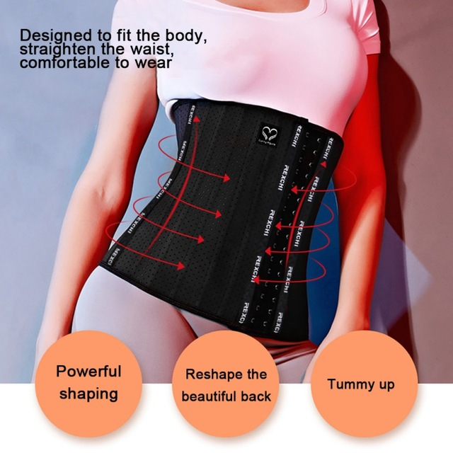Women Waist Cincher Trimmer Back Support Sweat Crazier Slimming Body Shaper Waist Trainer Belt For Weight Loss Fitness Exercises