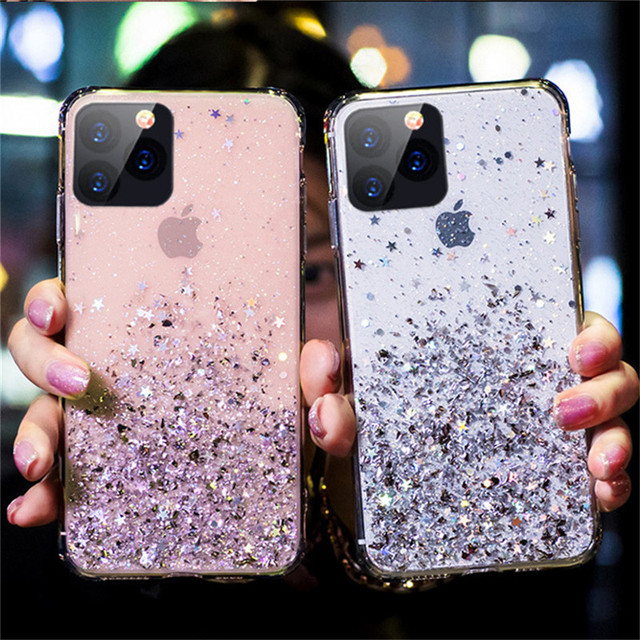 Moskado Glitter Bling Sequins Case For iPhone 11 Pro X XR XS Max 7 8 6 6s Plus Transparent Stars Phone Cases Soft TPU Back Cover