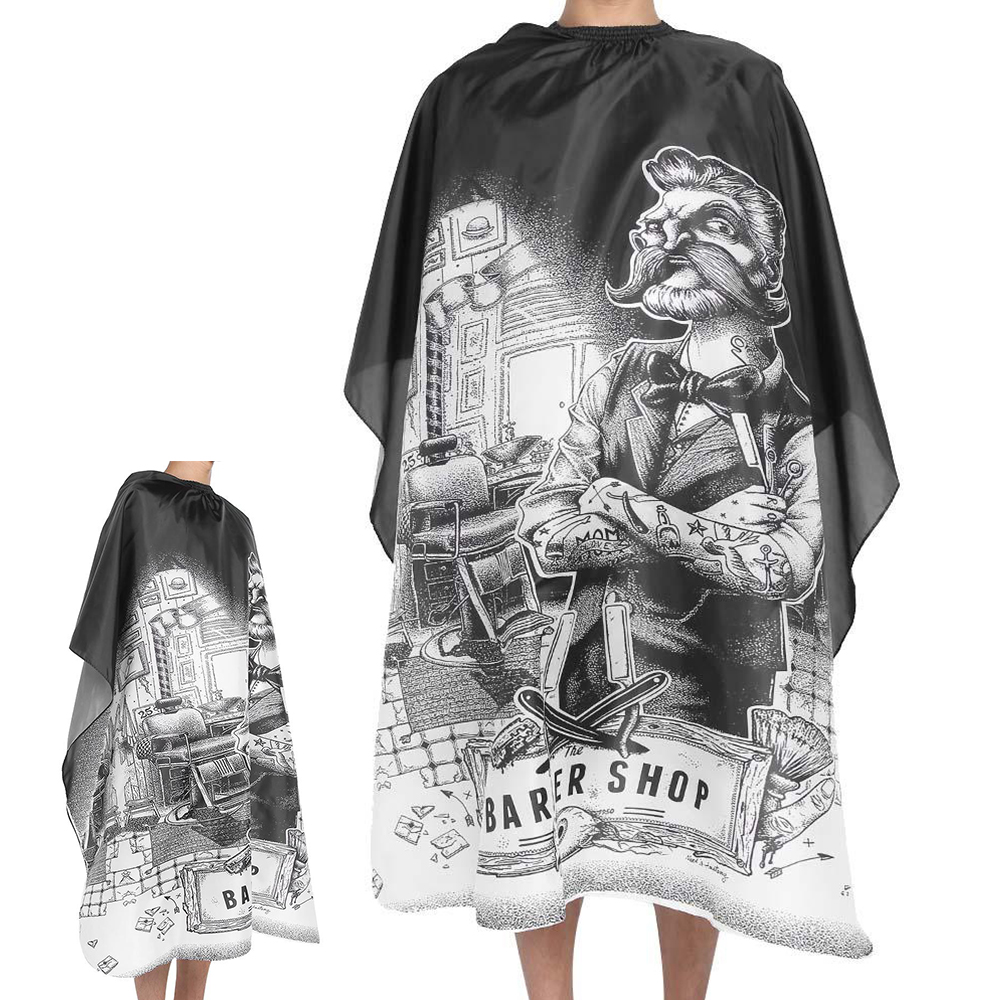 Waterproof Haircut Cape Cloth Cutting Hair Pattern Salon Barber Cape Hairdressing Hairdresser Apron Wrap Gown Tools Barber Apron(China)