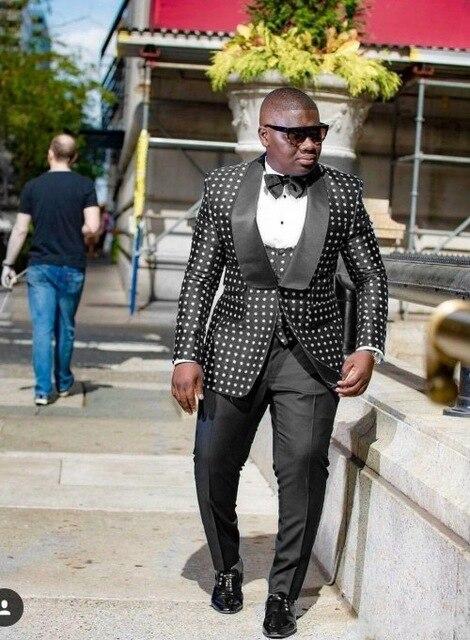 One Button Paisley Groom Tuxedos Shawl Lapel Groomsmen Mens Wedding Prom Suits (Jacket+Pants+Vest+Tie)