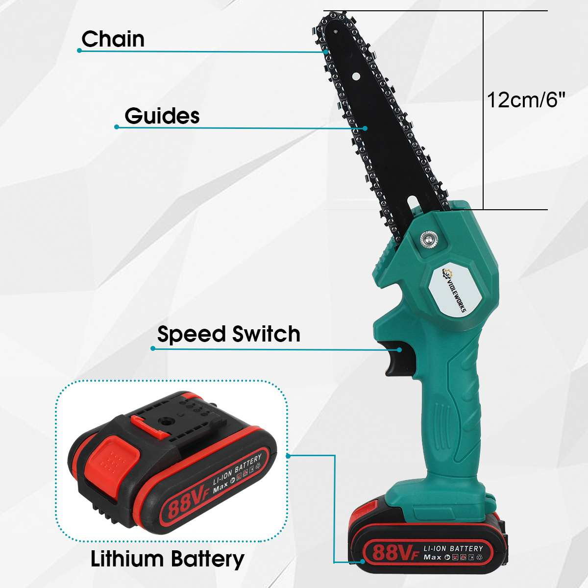 Tools : 6 Inch 88VF Rechargeable Electric Saw Chainsaw 1200W Brushless Motor with 2 Batteries Woodworking Cutter Tool For Makita Battery