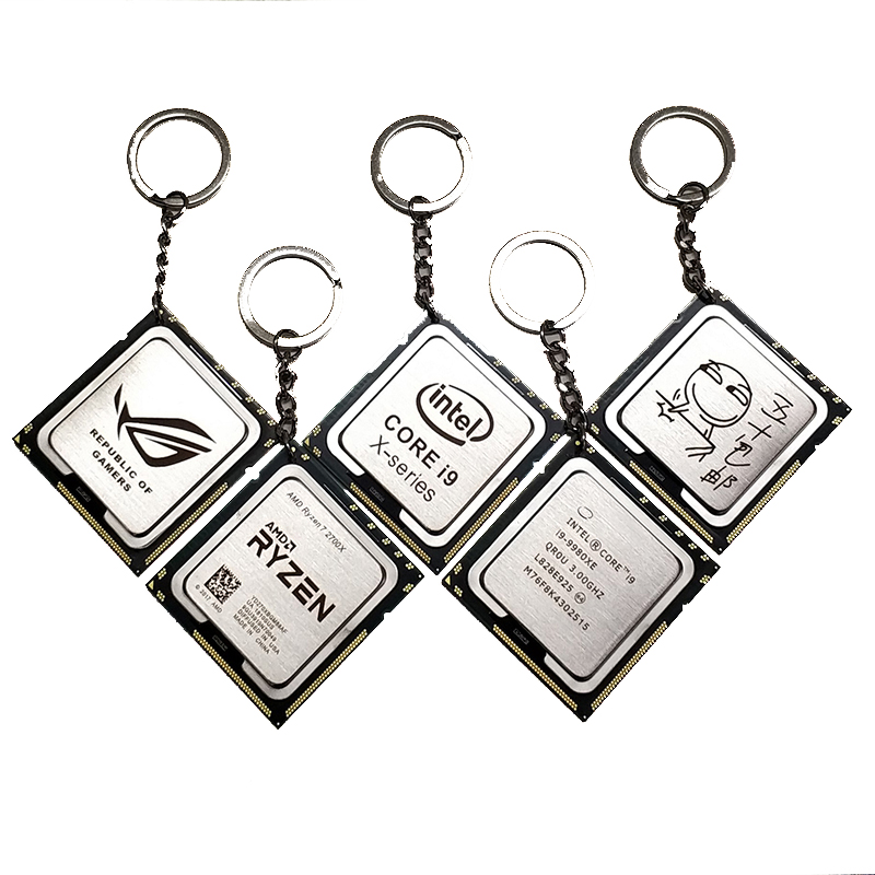 DIY Laser Engraving CPU Key Chain Pattern Customization Personalized Creative Pendant for Science Geek Xeon 115X AMD2 3 AMD1207