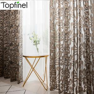 Topfinel Tulle Geometric Sheer Curtain Panels for Living Room Bedroom For The Kitchen Tulle For Window Jacquard Curtains Decor.