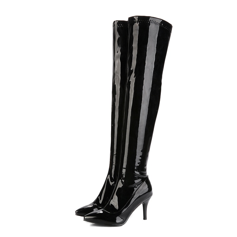 classic <font><b>sexy</b></font> <font><b>fetish</b></font> autumn winter <font><b>boots</b></font> women <font><b>extreme</b></font> <font><b>high</b></font> <font><b>heels</b></font> over-the-knee <font><b>high</b></font> <font><b>boots</b></font> shiny patent leather thigh <font><b>high</b></font> <font><b>boot</b></font> image