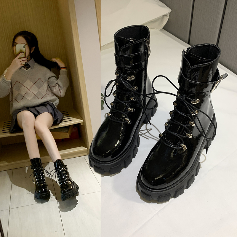 Army Combat Boots Women Lace Up Casual Black Platform Boots Leather Martin Ankle Boots Women Shoes Botas Mujer Plus Size 35-40
