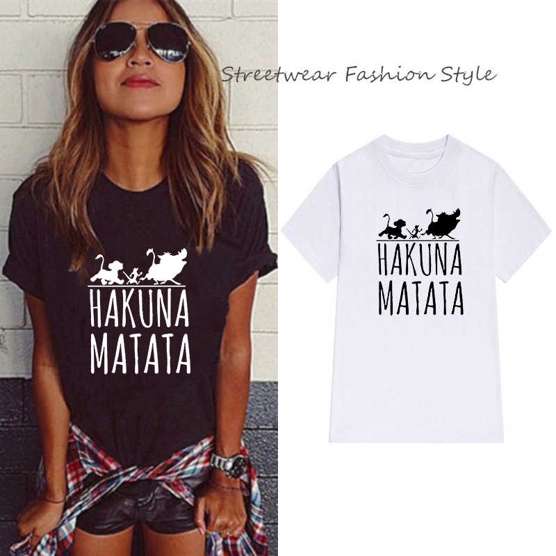 LUSLOS Moda Streetwear Tee Camicette Hakuna Matata Lion King Cartoon Movie T-Shirt Carino Harajuku Maglietta Femminile Magliette e camicette Magliette Estate