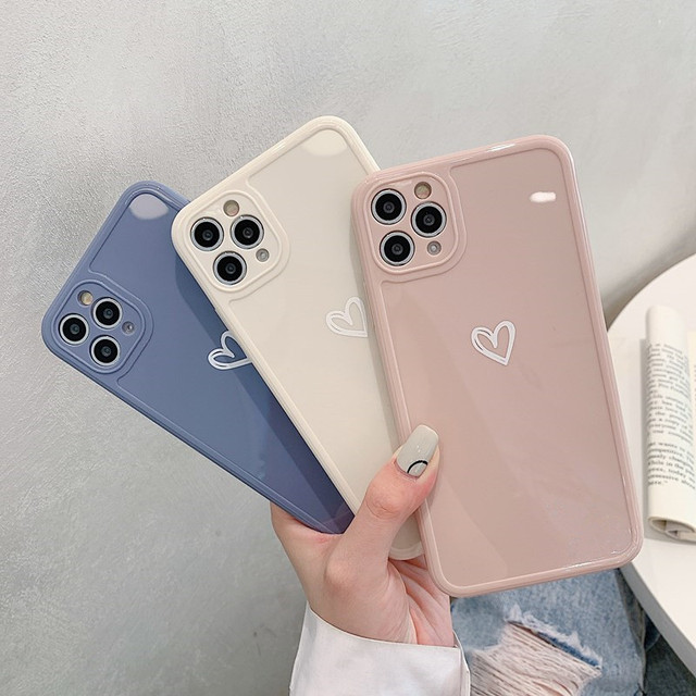 Love Heart Phone Case For iPhone 11 12 Pro Max 7 8 Plus X XR XS Max Candy Color Square Frame Back Cover For iPhone 7 8 Plus 1