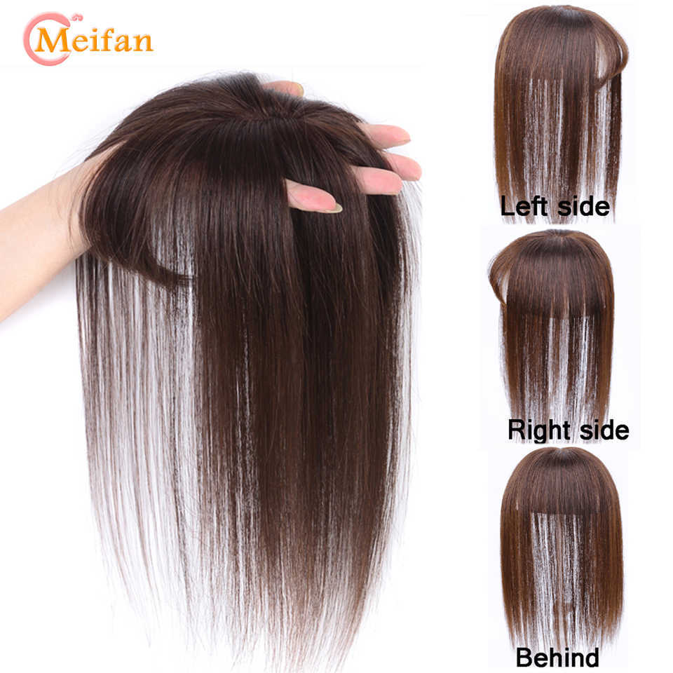 MEIFAN 탑 헤어 피스 (Bangs 포함) 손으로 만든 하프 헤드 가발 Stright Natural Fluffy Invisible Replacement Synthetic Hair Piece