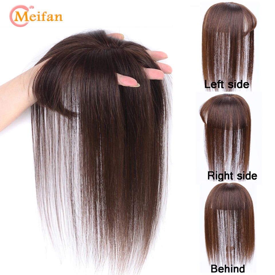 MEIFAN Top Hair Pieces With Bangs Hand-made Half Head Wig Stright Natural Fluffy Invisible Replacement Synthetic Hair Piece