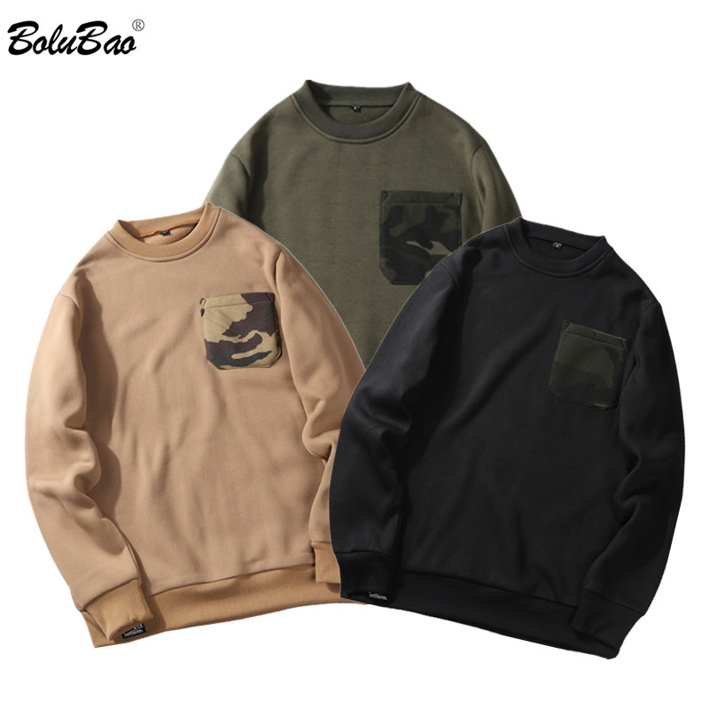 BOLUBAO Casual Brand Men O-Neck Sweatshirts Autumn Winter New Men's Wild Base Hoodies Male Camouflage Pocket Sweatshirt Tops