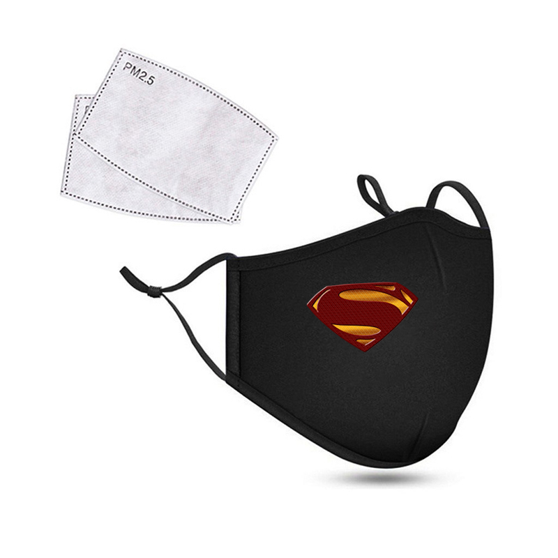 2020Superhero Cotton Face Mask Superman Breathable Cycling Running Facemask Anti Dust Windproof Air Purifying Face Mask+2 Filter