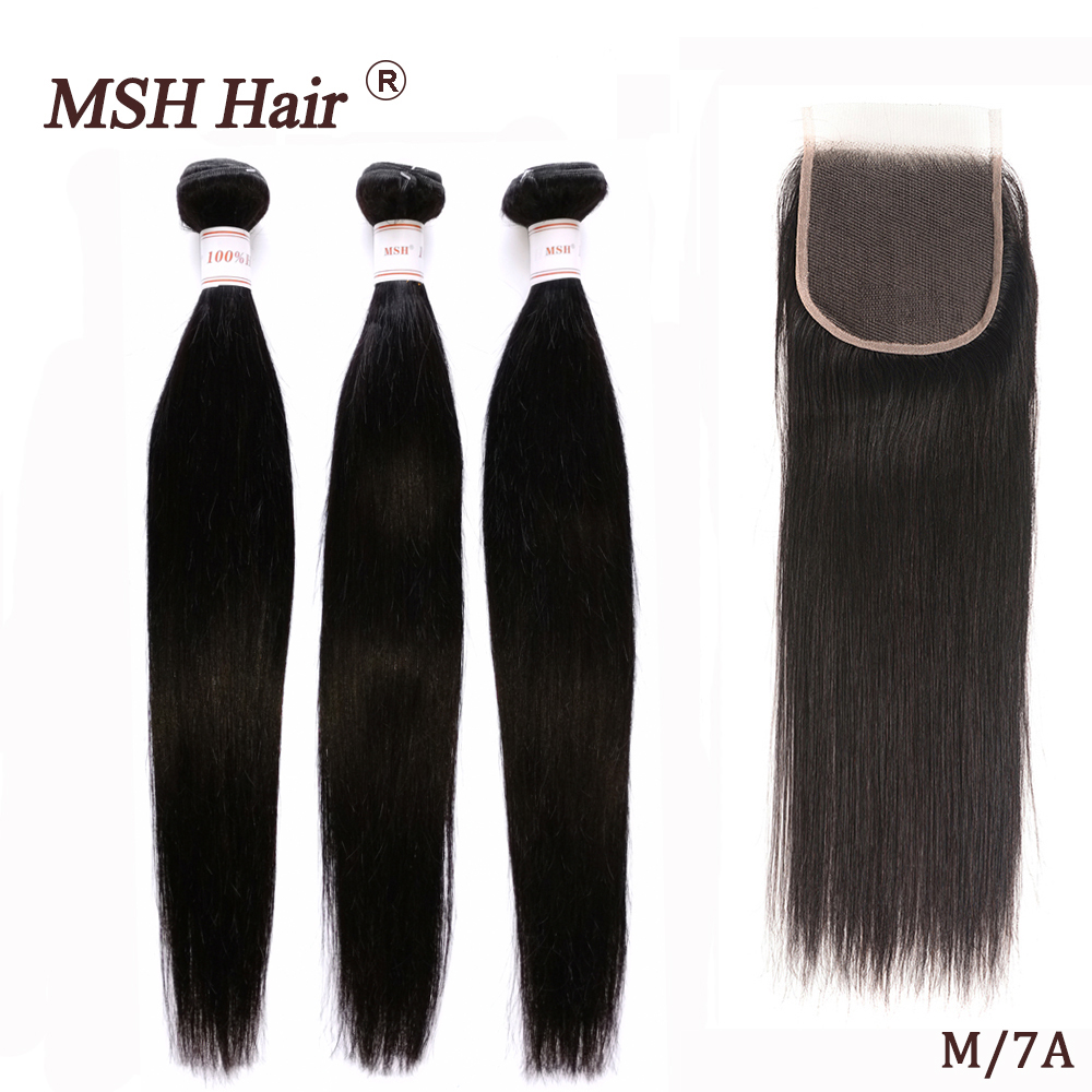 MSH Hair Brazilian Straight  Human Weave Bundles With 4*4 Lace Closure 130% Density Non Remy