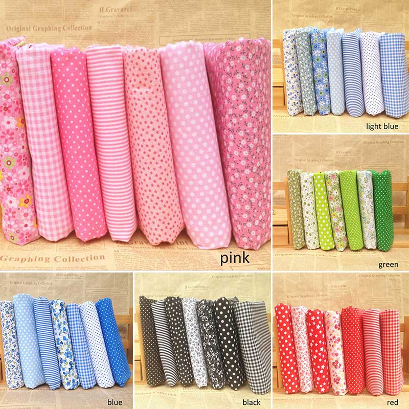 7Pcs/pack 25*25CM Floral Print Vintage cloth Cloth Material Sewing Patchwork Cotton Fabric Handmade Mixed Style