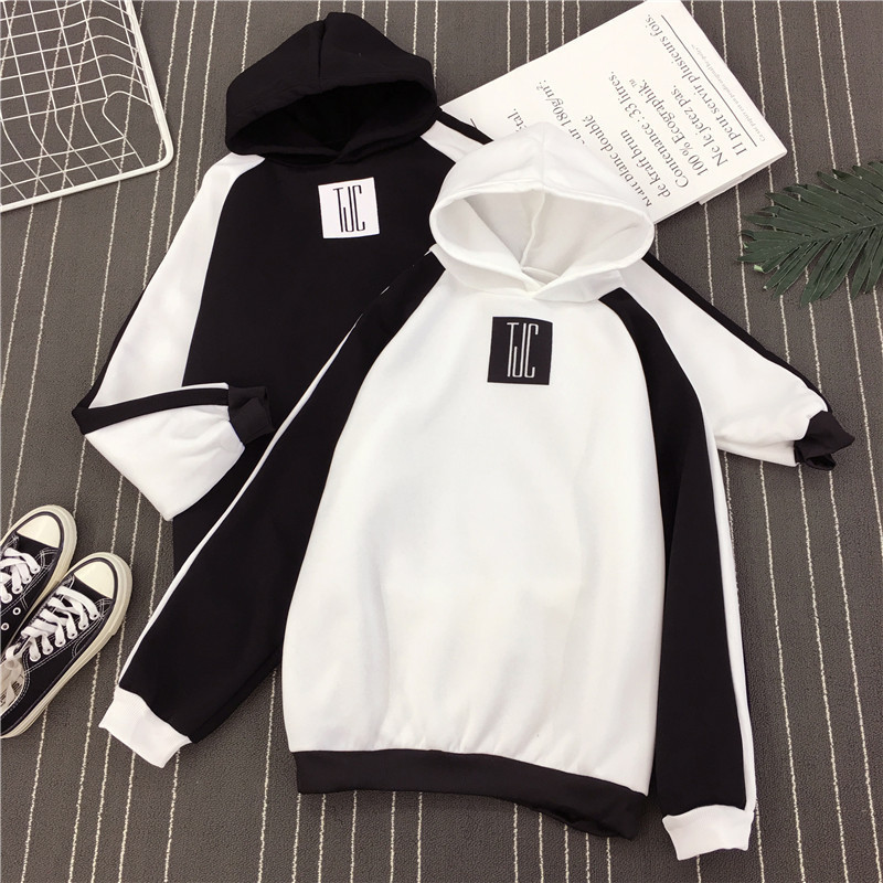 White Black Patchwork Color Letter Print Hoodies Unisex Winter Autumn Harajuku Hooded Sweatshirt Loose Pullover Femme Homme