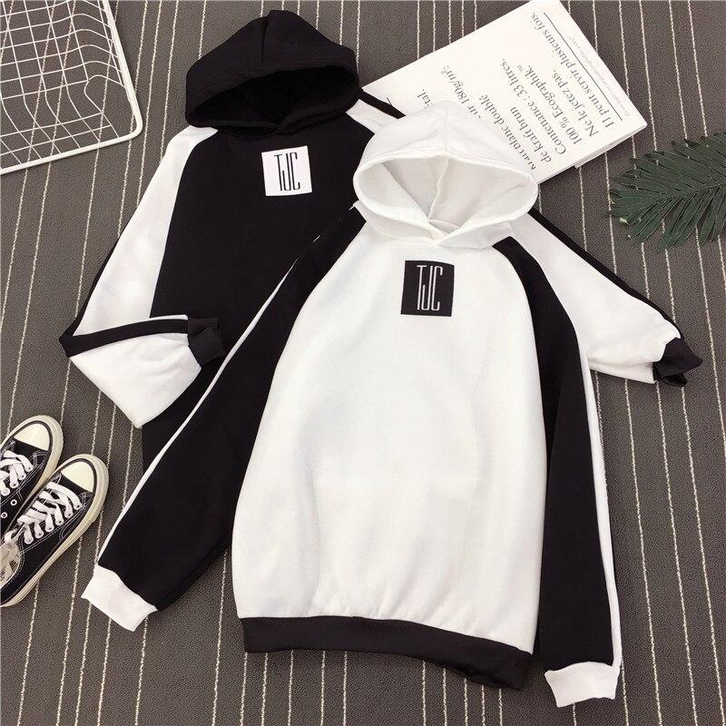 White Black Patchwork Color Letter Print Hoodies Unisex Winter Autumn Harajuku Hooded Sweatshirt Loose Pullover Femme Homme