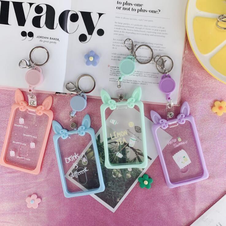 New 1PC Kawaii Korean Cat Animal Cartoon ID Card Case Holder Bus Bank Cards Cover Protector Case Keychain School Stationery