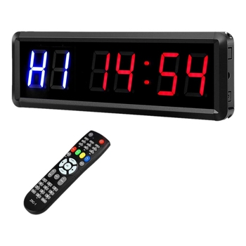LED Interval 1.5Inch 6 Digits Gym Workout Timer Count Down Clock Stopwatch Timer with Remote for Home Fitness EU Plug