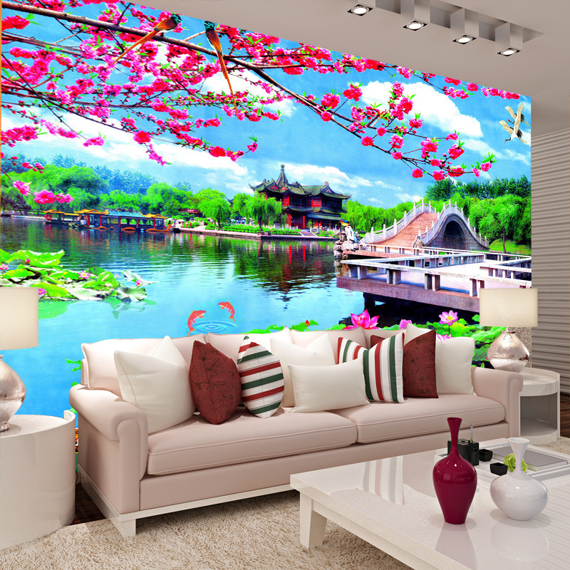Manufacturers Direct Selling Large Customizable 3D5D Seamless Mural TV Backdrop Living Room Sofa Landscape Painting