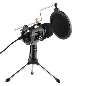 Image 1 - Kit de microfone de vídeo mikrofon com mini tripé de microfone montagem de choque pop filtro adaptador de pára brisa cabo 3.5mm plug