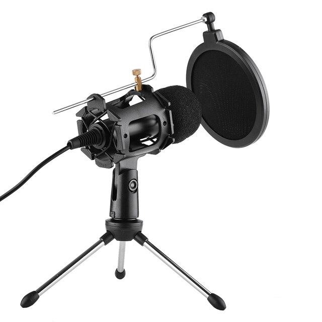 Kit de microfone de vídeo mikrofon com mini tripé de microfone montagem de choque pop filtro adaptador de pára brisa cabo 3.5mm plug