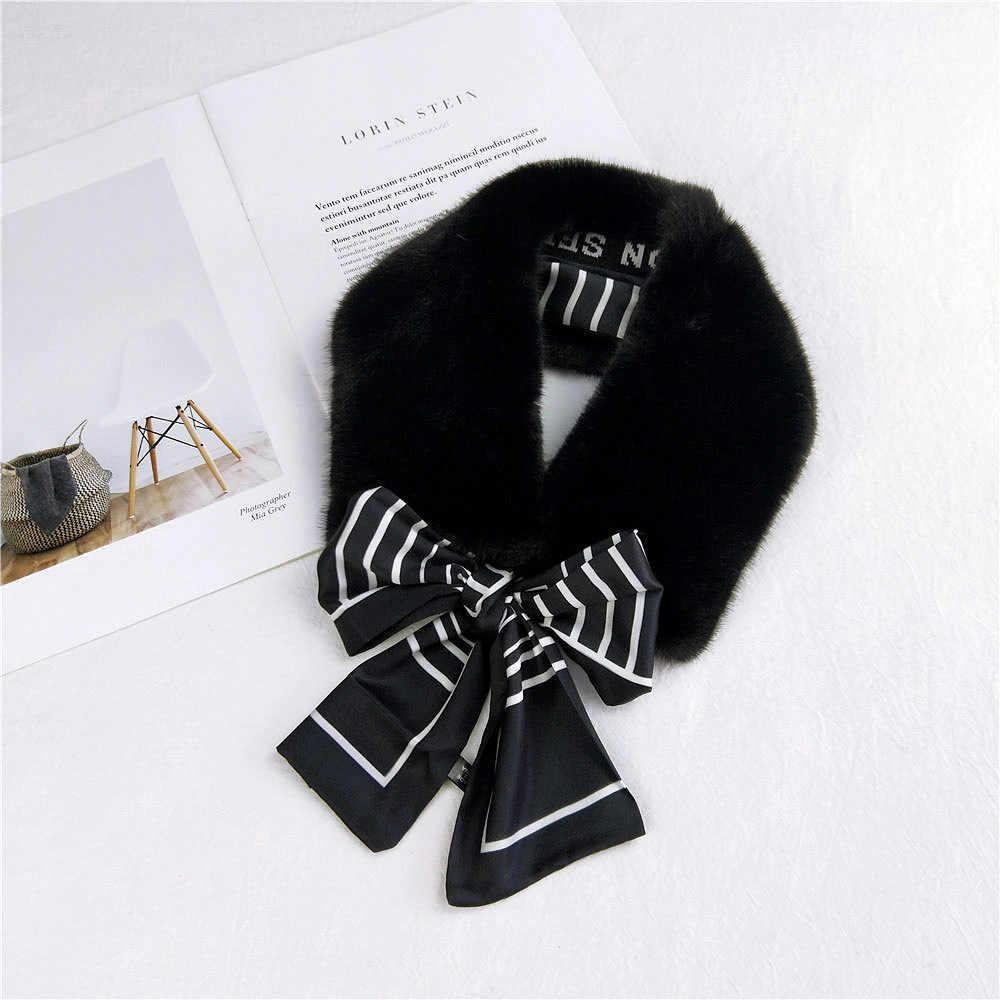 2020 novo inverno elegante branco preto gola de pele do falso cachecol senhoras grosso pescoço mais quente cachecol para mulheres casaco bufandas invierno mujer