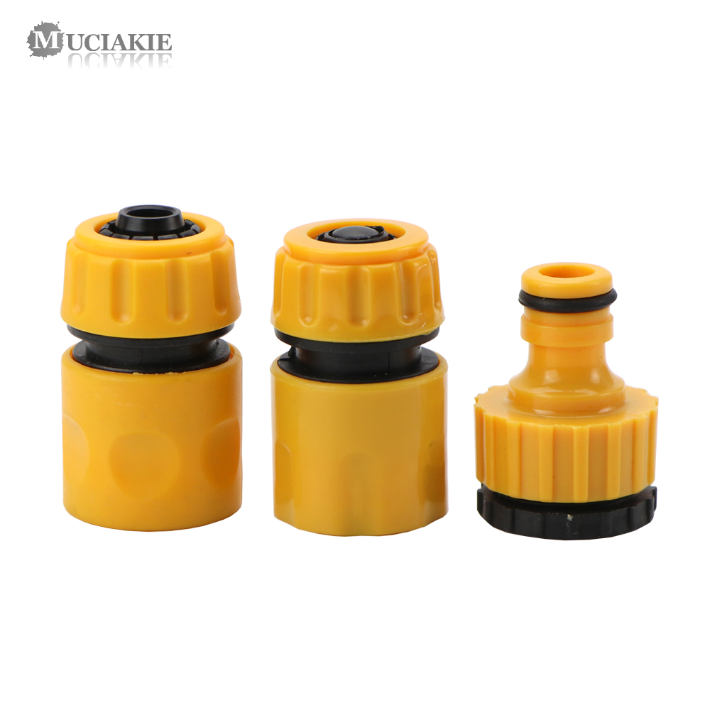MUCIAKIE 3PCS Coupling Adapter Drip Tape Watering Irrigation Faucet Hose Connecter With 1/2'' 3/4'' Male Garden Water Connector