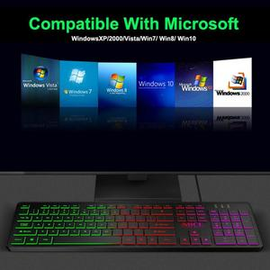 Image 3 - IMICE, AK 200, USB, luz de fondo con cable, teclado de membrana de 104 teclas para ordenador, PC, escritorio, Juegos de ordenador portátil, teclados