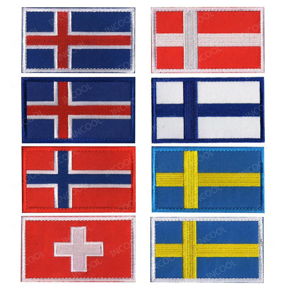 Sweden Norway Denmark Iceland Finland Switzerland National Flag Embroidered Patches Patch Embroidery Badges Europe Flags(China)